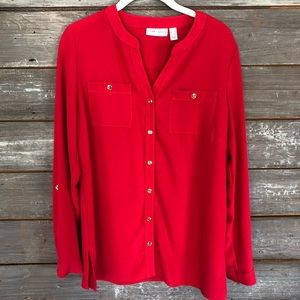 ❤️ NWOT Susan Graver Red Long Sleeve Tunic